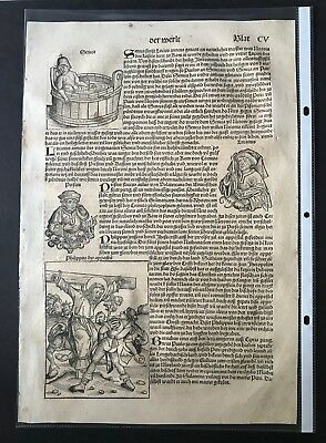 Nuremberg Chronicle, Incunabula Leaf, Anton Koberger and Hartmann Schedel