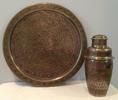 Vintage Hand Engraved Drink Shaker & Large Drink Tray In Beautiful Detail