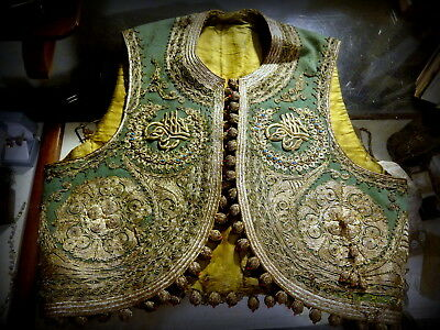 Antique 19th C Ottoman Couching Gold Thread Embroidery Vest Jelek Islamic Script