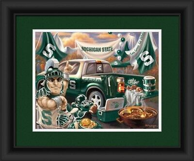 Michigan State Spartans Tailgate Print 38cm x 46cm. Indian Marketplace