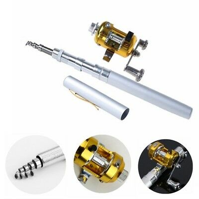 (Silver) - Dealzip Inc 100cm Mini Portable Pocket Aluminium Alloy Fishing Rod
