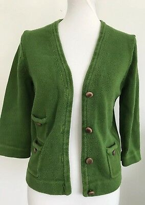 Jcrew Womens Cardigan Cable Knit Green Sweater Sz M Wood Buttons