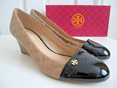 33e067e69ac NIB  265 TORY BURCH Claremont Wedge Heel Shoes Black Beige Quilted sz 10.5