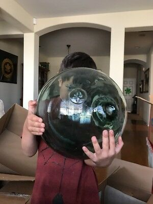 """Very Large Glass  37"""" Japanese Fishing Float With Stamp Lot Number Two"""
