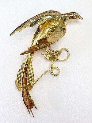 Vintage 14k Yellow Gold Phoenix Pheasant Bird Hunting Snake Pin Brooch, Pendant