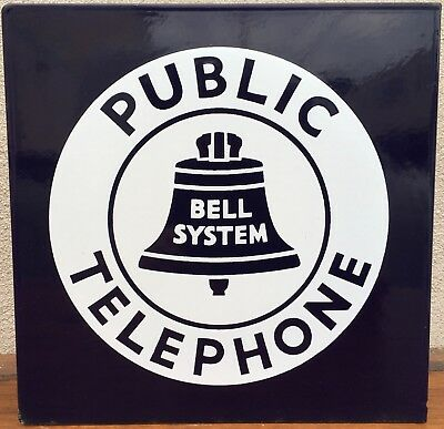 1940s Bell System Public Telephone Sign 2-Sided