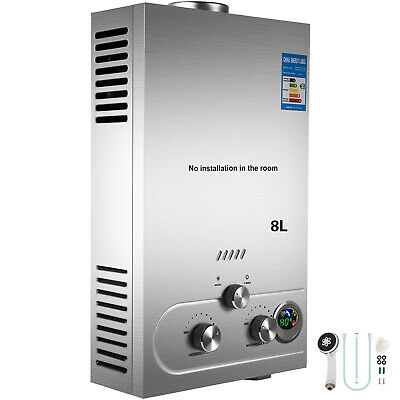 TANKLESS 8L Propane Gas INSTANT HOT WATER HEATER BOILER STAINLESS + SHOWERS