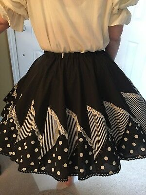 Black With Stripes And Polka Dots Square Dance Skirt