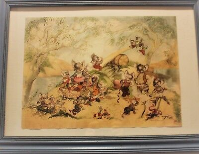 Brownie Downing RARE Large Glass Framed Koalas Picnic 57cms across by 42cms