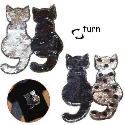 Cat Reversible Change Color Sequins Sew On Patches for Clothes Bag New D