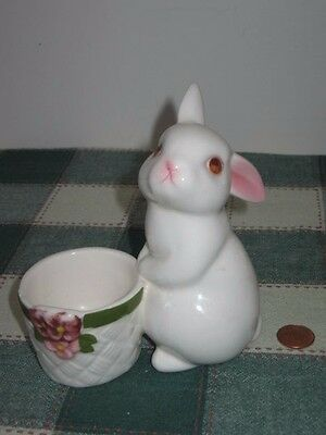 1980 AVON Easter Bunny Bright Ceramic Candle Holder Hand Painted Weiss Brazil