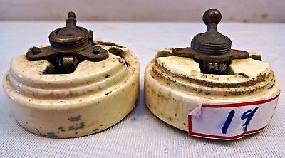 Vintage Ceramic&Brass Electric Switch Telac Slick British Make Genuine 2 Pc # 19