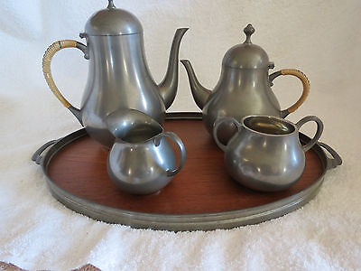 Vintage Royal Holland KMD Tiel Pewter Coffee Tea Set With Tray Estate Find