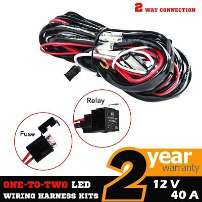 2 Way LED Wiring Loom Harness Light Bar Push Fuse Switch Kits 12V 40A Relay I5