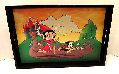 Vintage Wood Serving Tray Betty Boop And Mickey Mouse