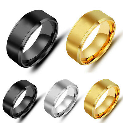 Mens All Size Titanium Stainless Steel Ring Promise Engagement Wedding Ring Band