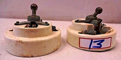 Vintage Ceramic&Brass Electric Switch British Make Exalt Vitreous Rare 2 Pc # 13