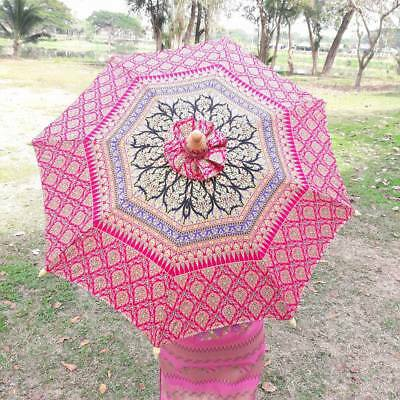 Thai Oriental Umbrella Parasol Thai Silk Bamboo Handmade North Rising Sun