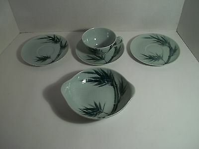 Vtg Celadon China Bamboo Pattern 1 Cup 3 Saucers and 1 Lugged Cereal Bowl Japan
