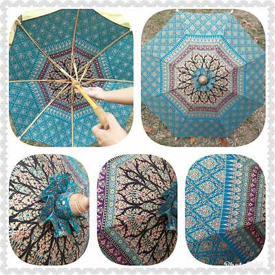 Thai Oriental Umbrella Parasol Thai Silk Bamboo Handmade North Rising Sun new