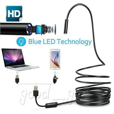 2 in 1 USB Endoscope Borescope Waterproof Snake Camera 6 LED for Mac OS Android