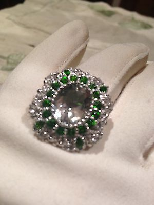 Genuine Green Amethyst Real Chrome Diopside Vintage 925 Sterling Silver Ring