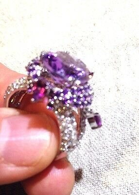 Genuine Amethyst Real White Sapphire Vintage 925 Sterling Silver Size 7.5 Ring