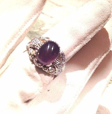 Antique Purple Genuine Amethyst Vintage Stone 925 Sterling Silver Deco Ring