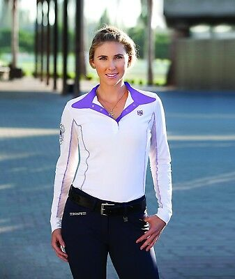 (X-Large, Amethyst) - Romfh Ladies Competitor LS Show Shirt. Free Delivery
