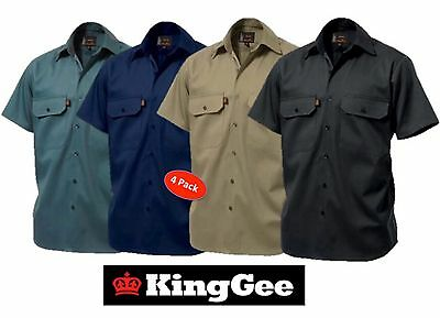 Pack Of 4 - King Gee  - Mens Open Front Short Sleeve Drill Work Shirt K04030