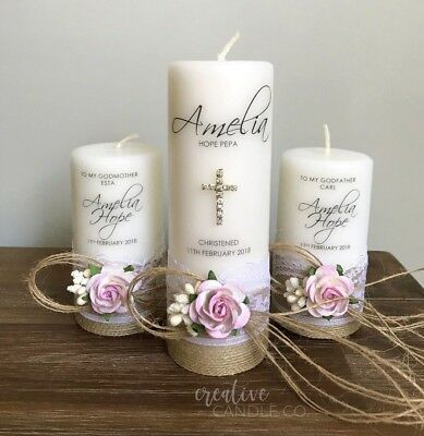 Personalised Christening Candle Set, Baptism Candle or Naming Day Candle S5 Pink