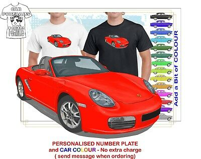 Classic 2005-08 Porsche Boxster Illustrated T-Shirt Muscle Retro Sports Car