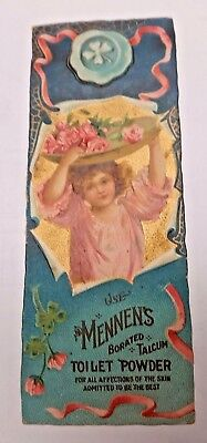 MENNENS Borated Talcum TOILET POWDER trade card BOOKMARK          (#212b)
