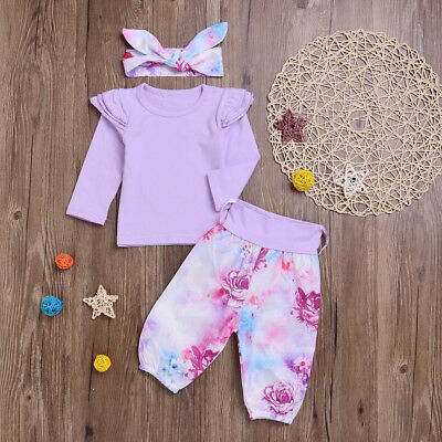 Newborn Toddler Baby Girls Tops Shirt Floral Pants 3Pcs Outfits Set Clothes