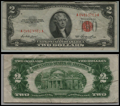 1953 $2 Dollar  Us Note Legal Tender Paper Money Currency Red Seal V446