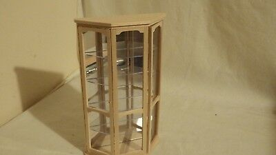 dolls house furniture bare wood fine quality glass wall display cabinet 1.12