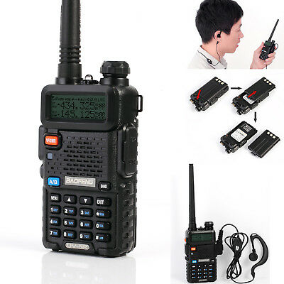 Baofeng UV-5R Dual Band UHF VHF Walkie Talkie Ham FM Two Way Radio+Earpiece UK