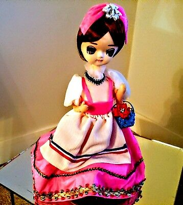 BRADLEY BIG EYED DOLL 1960's MUSICAL & ROTATING -12.5 INCHES TALL  RARE !!