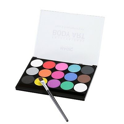 Face Paint WATER BASED Kit w/ Brush Non Toxic Body Painting Set 15 Vibrant Color