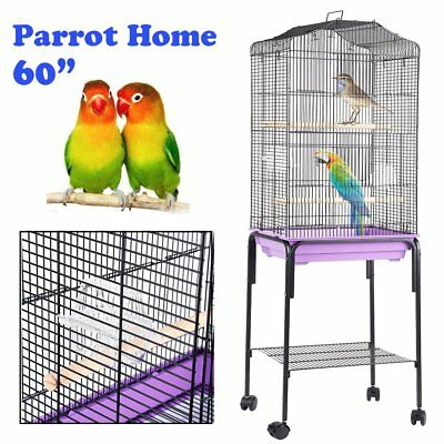 "Large Metal Bird Cage Budgie Parrot Canary Cockatiel 18""Lx10""Wx60""H w/ Wheels EC"