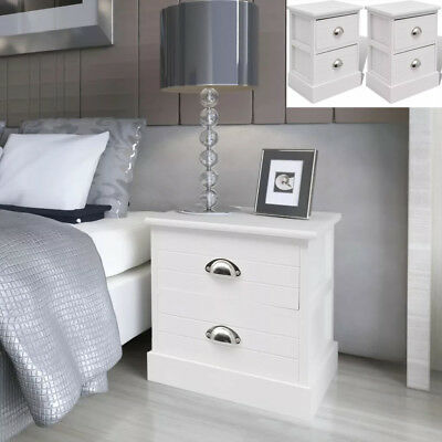 2 PCS French Bedside Cabinets Nightstand 2 Drawers White Storage Table Bedroom