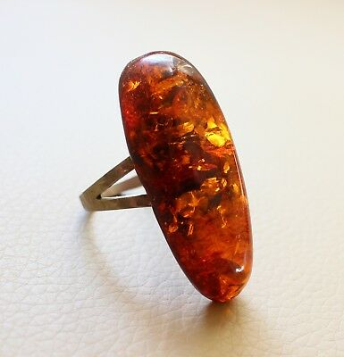 Antique Vintage Gorgeous Cognac Natural Baltic Oval Amber Ring Size 7 US 6.3 gr.