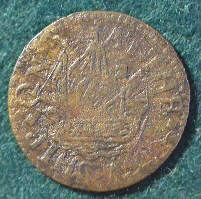 17th Century token from The New Ship in the Upper Ground, Southwark, Surrey