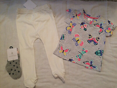 Baby Target T-Shirt, Organic Leggins and Country Road Socks Size 0 6-12mths