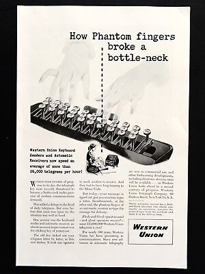 1946 Vintage Print Ad 40's WESTERN UNION Telegraph Company Typing Send Receive