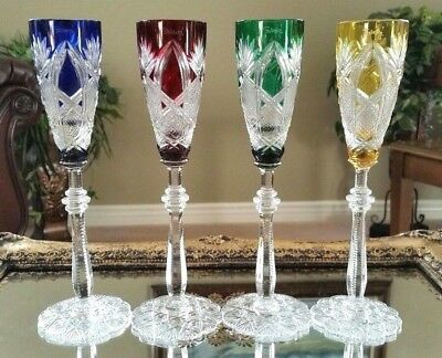 FABERGE SET OF (4) in BOX Imperial CZAR Cut to Clear Crystal Cordial Glasses