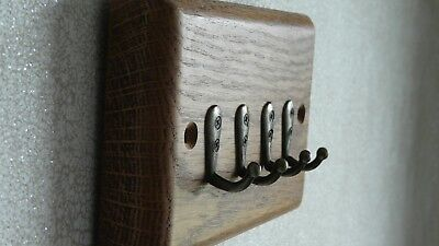 KEY HOLDER/RACK wall mounted solid oak antique brass hooks great home gift idea