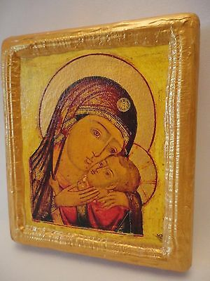 Madonna and Child Virgin Mary Jesus Ecclesiastical Russian Orthodox Icon OOAK