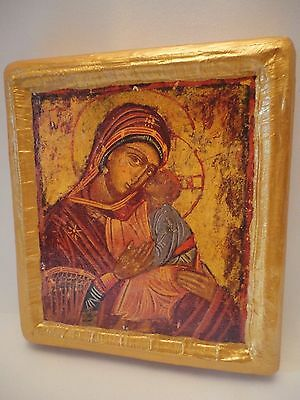 Madonna and Child Virgin Mary Jesus Greek Orthodox Icon One of a Kind