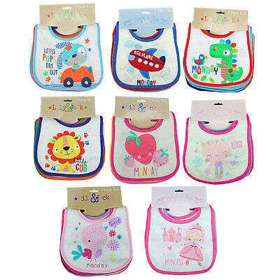 Baby Girls Boys Assorted Pack Of 7 Days of the week Bibs Terry Waterproof Back